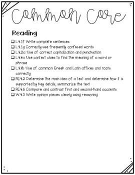 4th Grade Morning Worksheets Math and ELA-SET 5