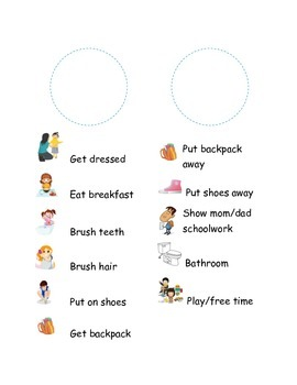 Morning/afternoon picture routine checklist (door hanger)