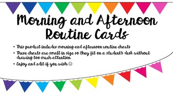 Morning and Afternoon Routine Charts