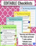 Morning and Afternoon Routine Checklists- EDITABLE