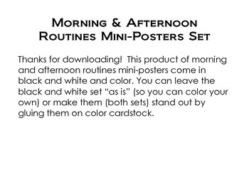 Morning and Afternoon Routines Mini-Posters