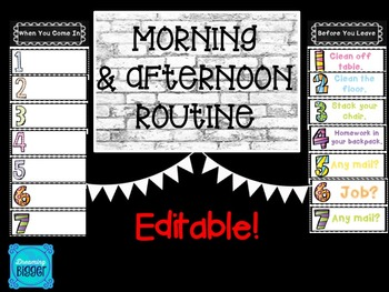 Morning & Afternoon Routines Posters *EDITABLE