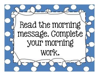 Morning and Dismissal Checklist