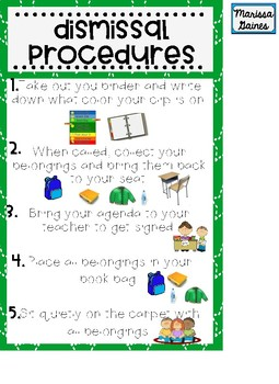 Morning and Dismissal Procedures Posters