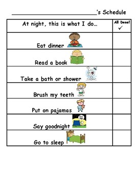 Morning and Nighttime Routines Visual Schedules