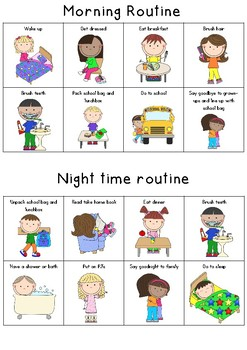 Morning and night time routines sheet