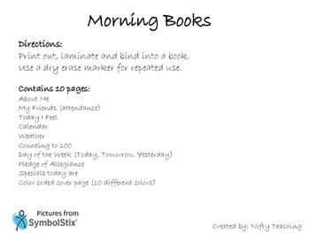 Calendar book / Morning book / circle time