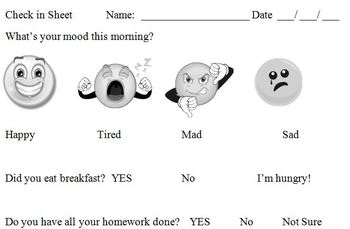 Morning check in sheet