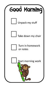 Morning checklist for students - Jungle animals