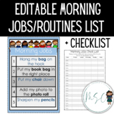 Morning jobs/routine with checklist **Editable**