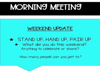 Morning + Daily Direction Slides With Morning Meeting *Editable/Google Slides*