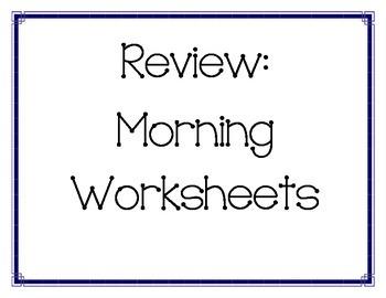 Morning work-Not calendar work-Review part 1