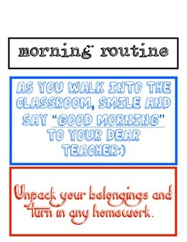 Morning/End of Day Routine Mini Posters