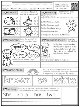 Mornings Made Easy Set Three! First Grade Morning Work By Tweet Resources
