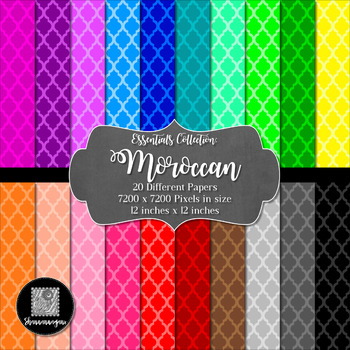 Moroccan 12x12 Digital Paper (Basic Colors) - Commercial o