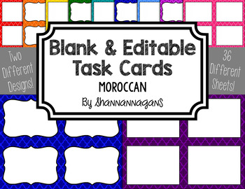 Moroccan Blank Task Cards (Basic Colors)