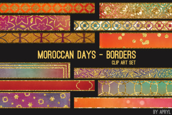 Moroccan Days Border Clip Art 32 JPG Blue Orange Art Strips 12in Glitter Foil