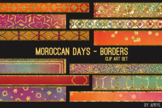 Moroccan Days Border Clip Art 32 JPG Blue Orange Art Strip