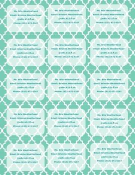 Moroccan Print Teacher Info Magnet **Editable