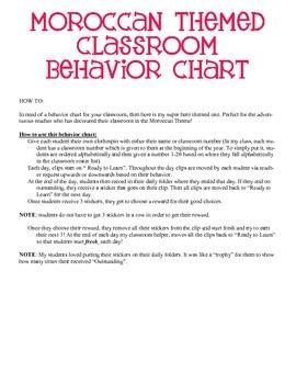 Moroccan Themed Behavior Clip Chart