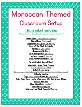 Moroccan Themed Classroom Bundle