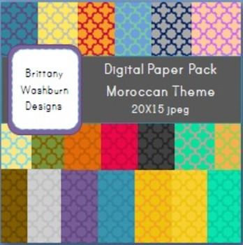 Moroccan Themed Digital Paper Backgrounds