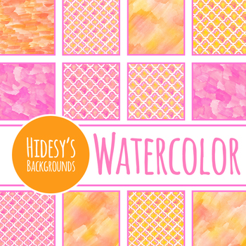 Moroccan Tiles Watercolor Hand Painted Digital Papers / Backgrounds Clip Art