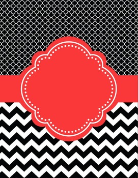 Moroccan and Chevron Binder Covers ~ Two Versions both Black and Red