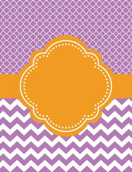 Moroccan and Chevron Binder Covers ~ Two Versions both Orange and Violet