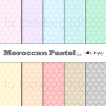 Moroccan pastel digital papers. Quatrefoil Wallpapers. Backgrounds.