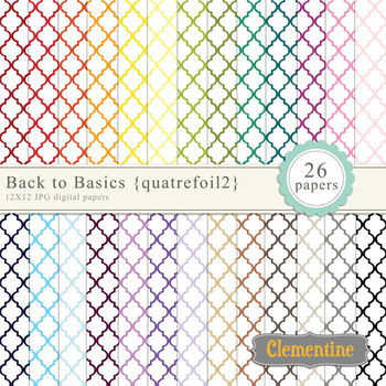 Moroccan style quatrefoil digital papers - rainbow digital papers
