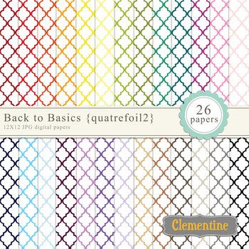 Moroccan style quatrefoil digital papers - rainbow digital papers