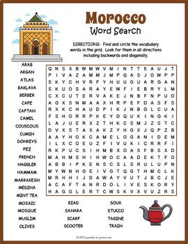 Morocco Word Search Puzzle