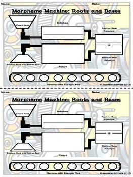 Morpheme Machine Half-Sheet Roots/Bases Graphic Organizer