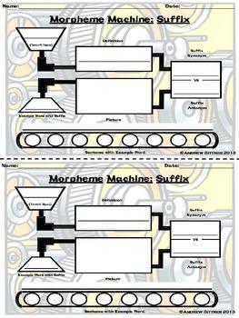 Morpheme Machine Half-Sheet Suffix Graphic Organizer