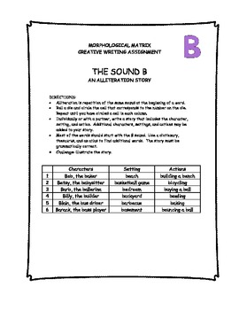 Morphological Matrix Creative Writing Assignment - The sound B Primary Students