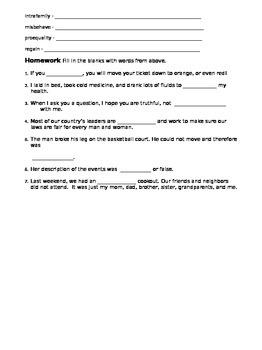 Morphology - Prefixes Week 3 - Classwork, Homework, Showdown Review Game, Quiz