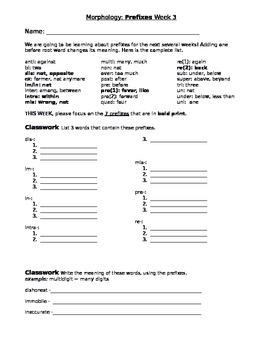Morphology - Prefixes Week 3 - Classwork, Homework, Showdo