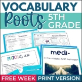 FREE WEEK of 5th Grade Vocabulary Greek & Latin Roots