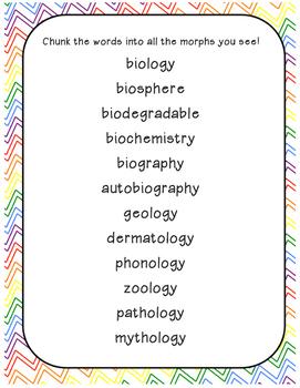 Morphology (-logy, bio) Root Study