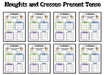 Morpions/Noughts and Crosses- Grammar/Conjugation Game-Present Tense- French