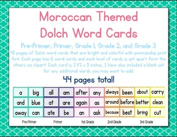 Morrocan Themed Decor Dolch Words (pre-primer-3rd)