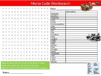 Morse Code Wordsearch Sheet Starter Activity Keywords Technology History