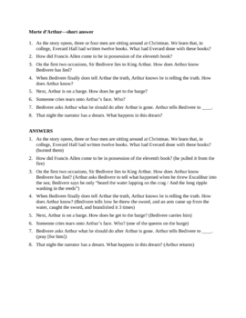 Morte d'Arthur and Arthur Becomes King of Britain questions