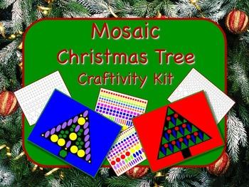 Mosaic Christmas Tree Craftivity Kit Print & Go - NO PREP