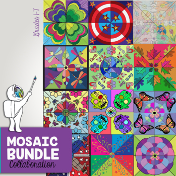 Mosaic Holiday Bundle - Interactive Coloring Sheets - Collaborative Mosaics