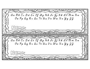 Mosaic Mandala DIY Alphabet Name Plate Desk Tag Coloring Print & Cursive