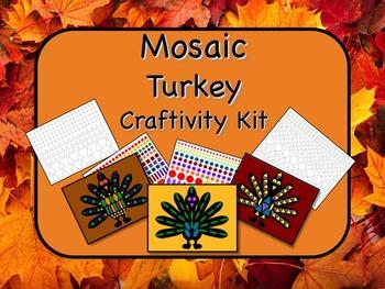 Mosaic Turkey Craftivity Kit Print and Go - NO PREP - Grea
