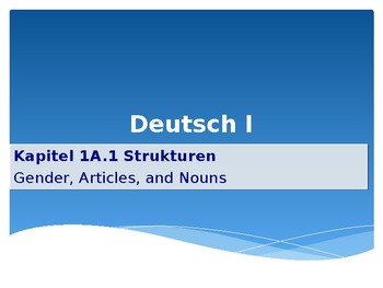 Mosaik 1 - German - Chapter Kapitel 1A Subject Pronouns, Sein, and the Nominativ