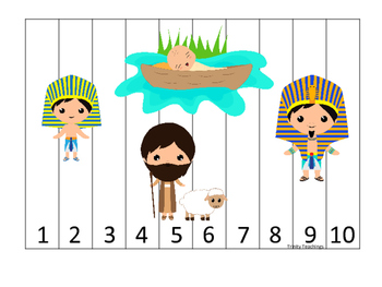 Moses 1-10 Sequence Puzzle. Preschool Bible History Curriculum Studies. Christia
